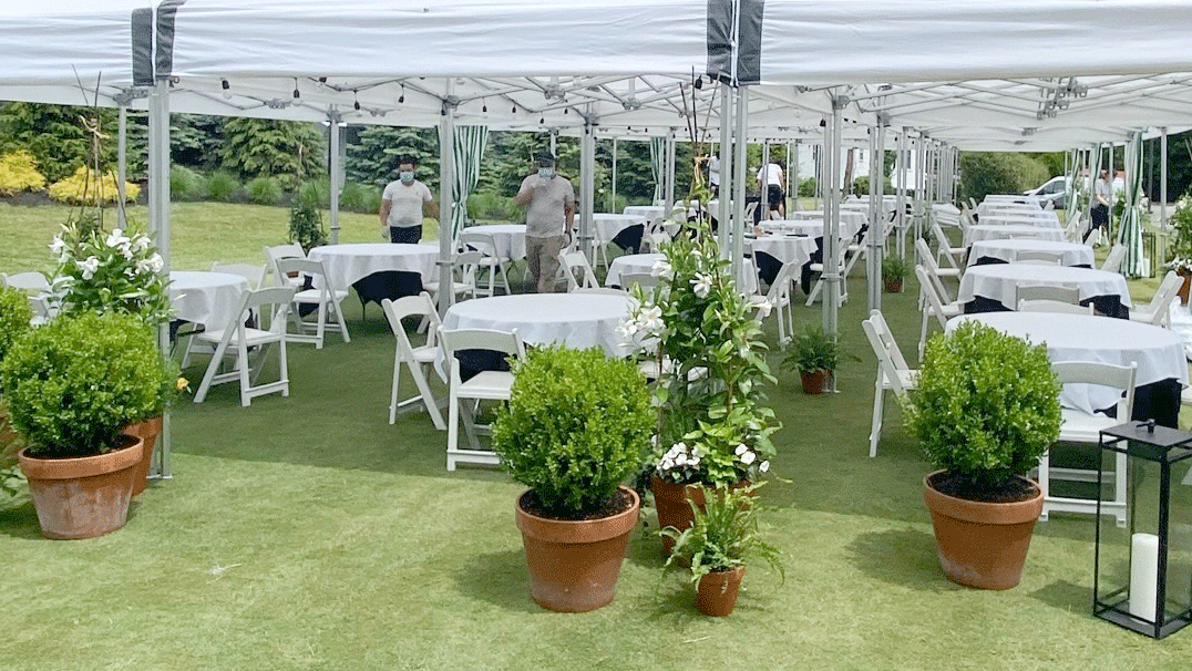 David Burke Orange Lawn outdoor dining space