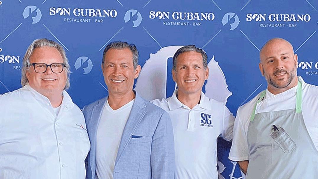SON CUBANO backdrop with Chef Burke, Alex, Carmine