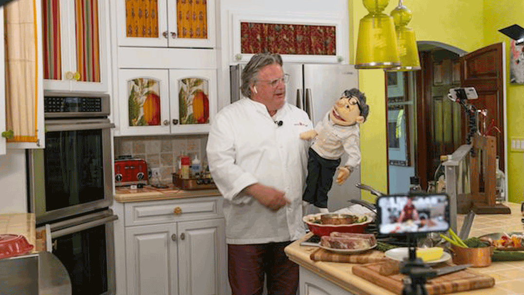 Chef Burke in his kitchen with Lefto, his puppet